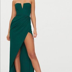 Emerald Green Strapless Dress with Slit